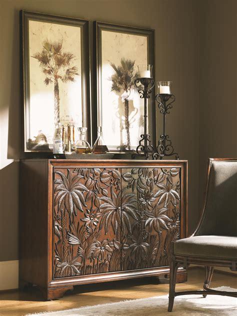 landara balboa tropical carved door chest   shelves