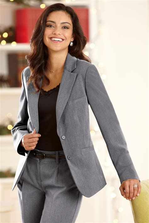 beautiful grey womens suit business attire womens