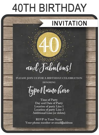 chalkboard  birthday invitations template printable