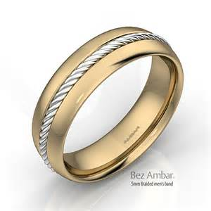 mens gold wedding band 18k two tone gold wedding band
