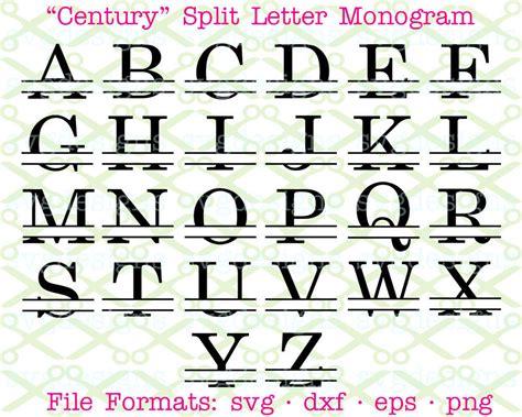 century schoolbook split letter monogram century monogram etsy