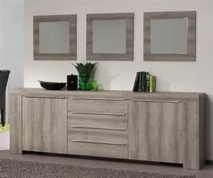 Buffet bahut contemporain 2 portes 4 tiroirs chene mara for Idee deco cuisine avec meuble salle a manger complete contemporain