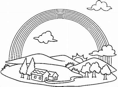 Rainbow Coloring Pages Printable Clouds Template Colouring
