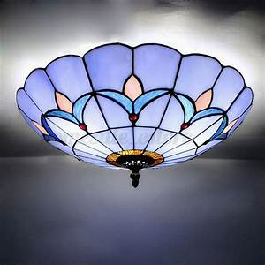 Romance Style Stained Glass Ceiling Lighting Fixture Flush