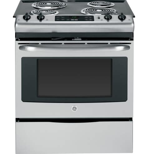 ge jsrfss   stainless steel   electric range  coil element cooktop  cu