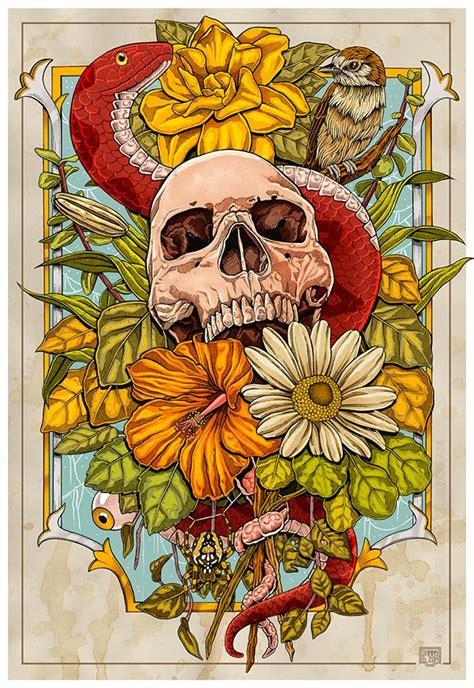 Nature Behance Skull Delicate Feminine Flower