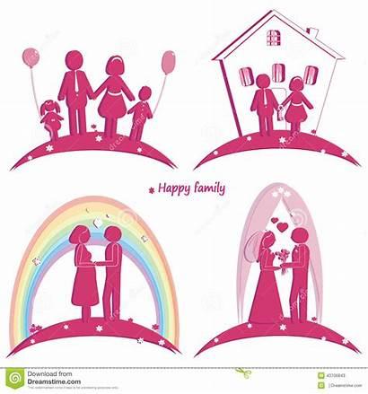 Symbol Happy Parents Pregnancy Silhouette Doughter Icons