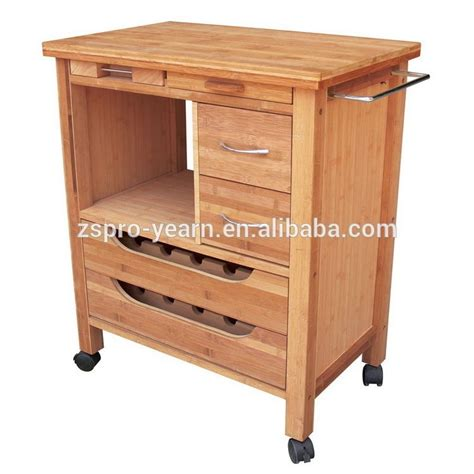 wood kitchen service trolley cart   tiers  drawers