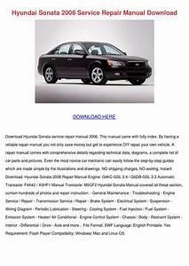 Hyundai Sonata 2006 Service Repair Manual Dow By Beckie