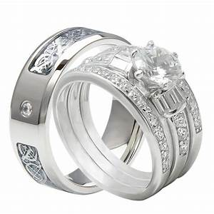 Ring Set Silber : 4pcs his and hers tungsten 925 sterling silver wedding bridal matching ring set ebay ~ Eleganceandgraceweddings.com Haus und Dekorationen