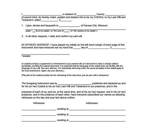 free codicil template last will and testament form pdf