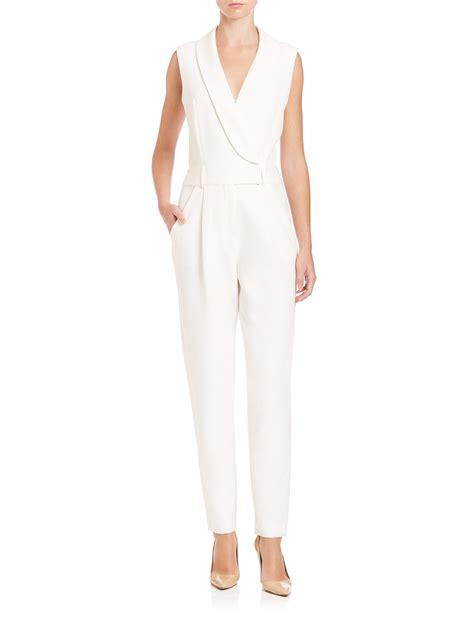 tuxedo jumpsuit lyst milly tuxedo jumpsuit in white