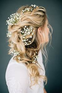 Romantic Tousled Bridal Braid Adorned With Baby's Breath Mon Cheri Bridals