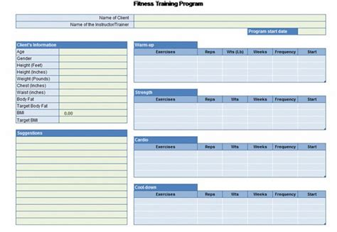 workout chart  excel