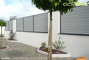 Cloture Pvc Sur Muret : oc wood panneaux de cl ture composite sur muret gamme ~ Melissatoandfro.com Idées de Décoration