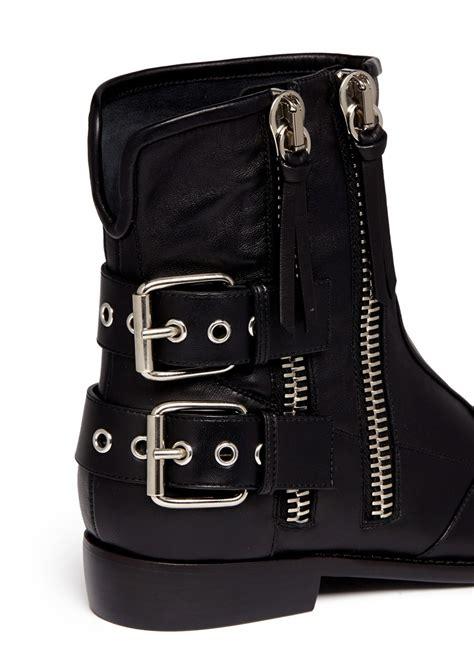 buckle motorcycle boots giuseppe zanotti 39 cobain 39 motorcycle buckle boots in black