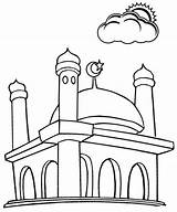 Mosque Coloring Cartoon Pages sketch template