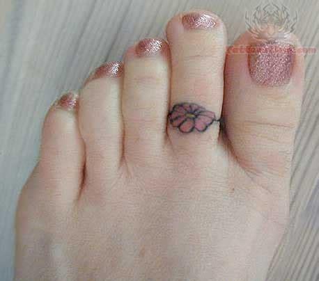 flower ring tattoo  foot finger