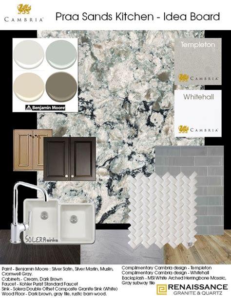 kitchen idea board cambria praa sands   kitchen