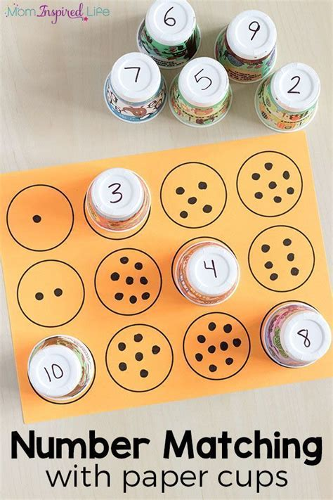 counting  number matching  paper cups fun math