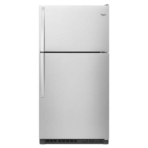 best refrigerator shop whirlpool 20 5 cu ft top freezer refrigerator monochromatic stainless steel at lowes com
