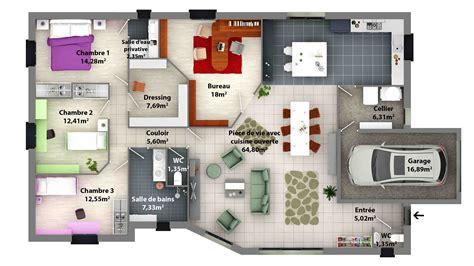 plan maison rdc 3 chambres plan moderne 3d maison classique maison moderne