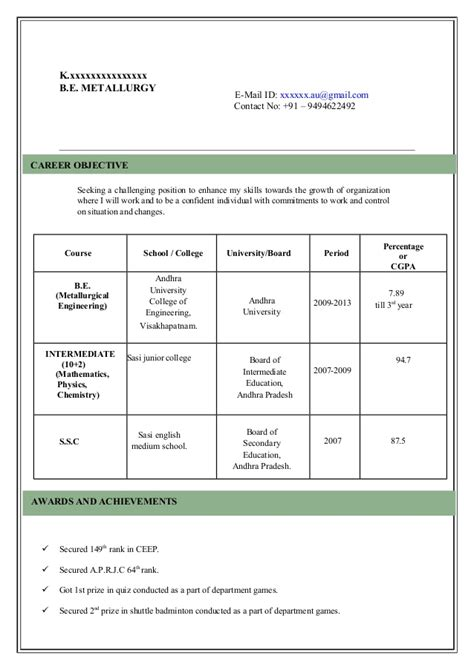 Model Of Resume For by Model Resume