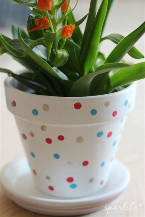 hand painted confetti flower pot sparkle living blog