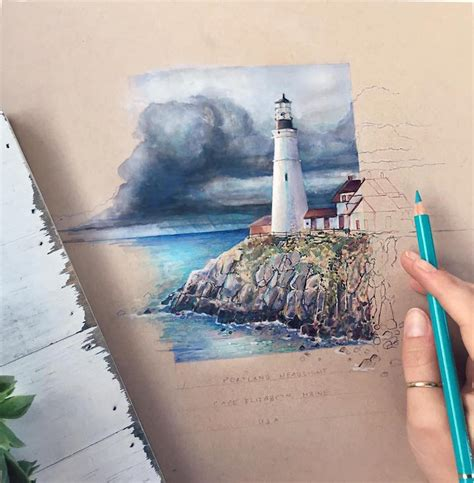 vibrant color pencil drawings show everyday items