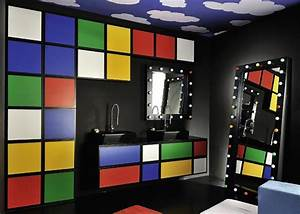 colorful bathroom decor by delpha water play multi With kitchen colors with white cabinets with rubik s cube stickers