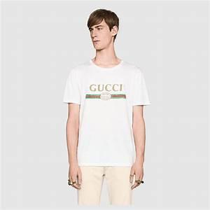 271deb62b washed t shirt with gucci print gucci men 39 s t shirts polos  440103x3f059045