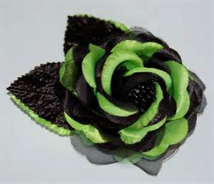 alligator hair clip lime green black flower hair clip sash clip or