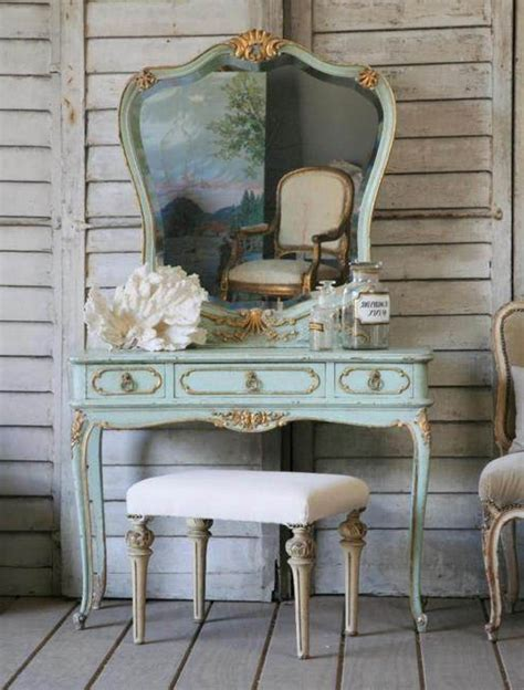 antique vanity table design idea using turquoise paint