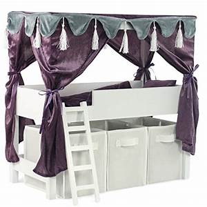 Emily Rose Doll Clothes INS1036 Doll Canopy Bed Storage