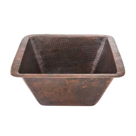 rubbed bronze kitchen sinks premier copper products undermount hammered copper 15 in 7152