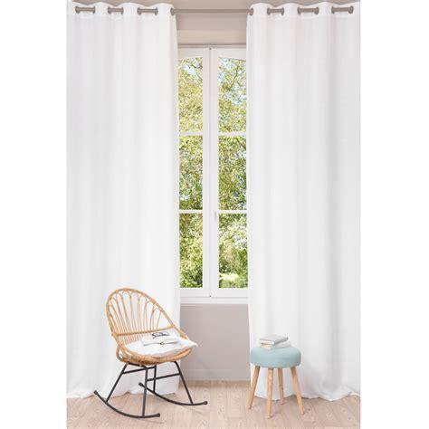 rideau 224 œillets en lin lav 233 blanc 130 x 300 cm maisons