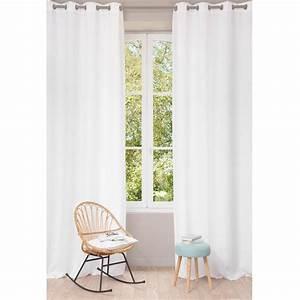 Rideau En Lin Blanc : rideau illets en lin lav blanc 130 x 300 cm maisons ~ Melissatoandfro.com Idées de Décoration