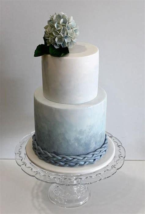 tier blue ombre wedding cake  watercolor wedding