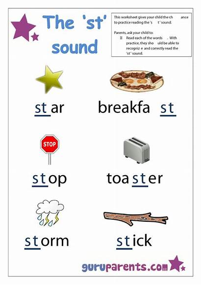 Letter Worksheets Sounds Beginning St Preschool Words