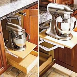 pop-up shelf by Wood Mode and Kitchen Aid mixer can't