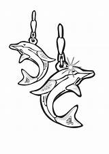 Coloring Jewelry Earrings Dolphin Template Pages Sheet sketch template