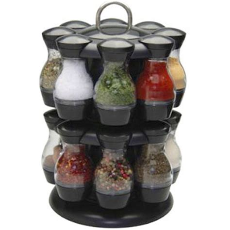 Revolving Spice Rack With 16 Spices by 16 Jar Rotating Spinning Carousel Spice Herb Rack Jars
