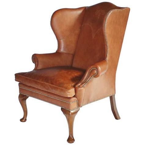 vintage wingback ralph leather wingback chair for sale at 1stdibs
