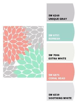 nursery colors grey soft coral aqua or soft teal or
