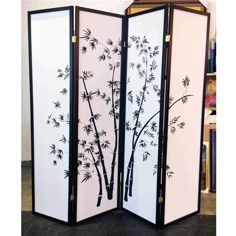 Legacy 4 Panels Room Divider Folding Screen Wood Frame