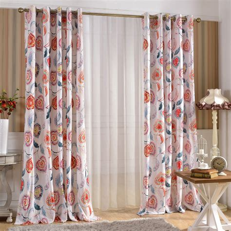 designer curtains in colorful floral patterns