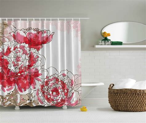 shower curtain flowers big pink flowers beige white floral fabric shower curtain