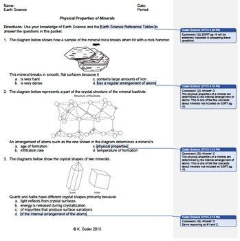 worksheet minerals physical properties editable with
