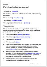 part time lodger agreement template