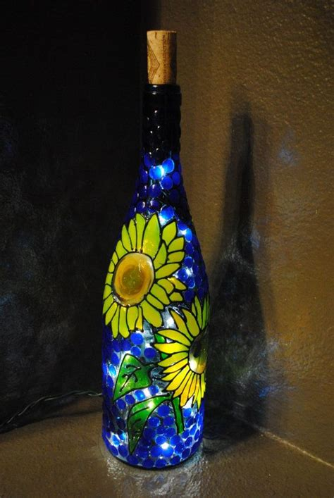 Decorative Wine Bottles With Lights sunflower lighted decorative wine bottle
